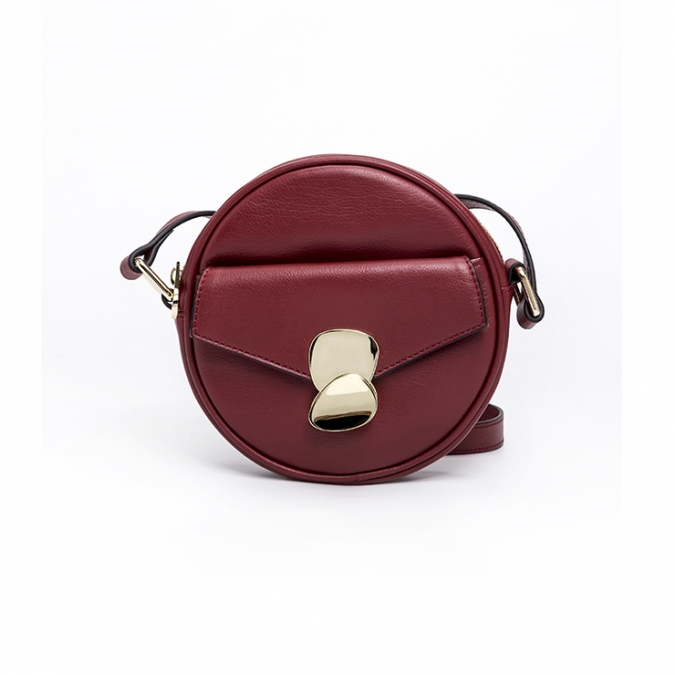 round shape leather crossbody bag